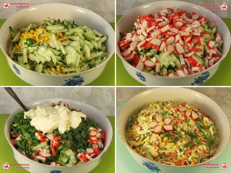 Нарезаем и добавляем в салатник свежий огурец, крабовые палочки, зелень, майонез и перемешиваем