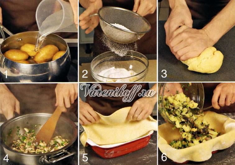 пирог с картошкой и с грибами в духовке рецепт с фото