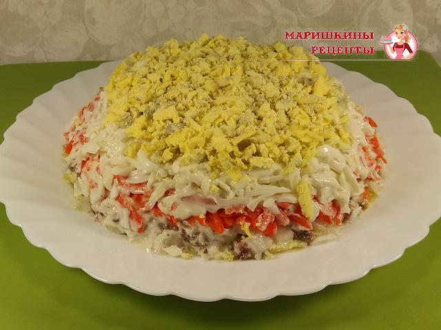Натертыми желтками украсим салат