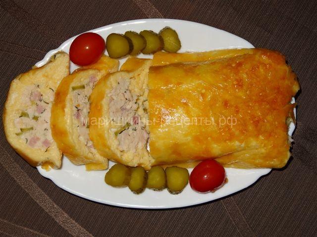 Рубленая курица запеченая в сыре