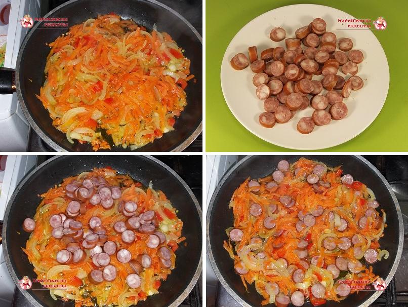 Обжарим охотнчьи колбаски с овощами на сковороде