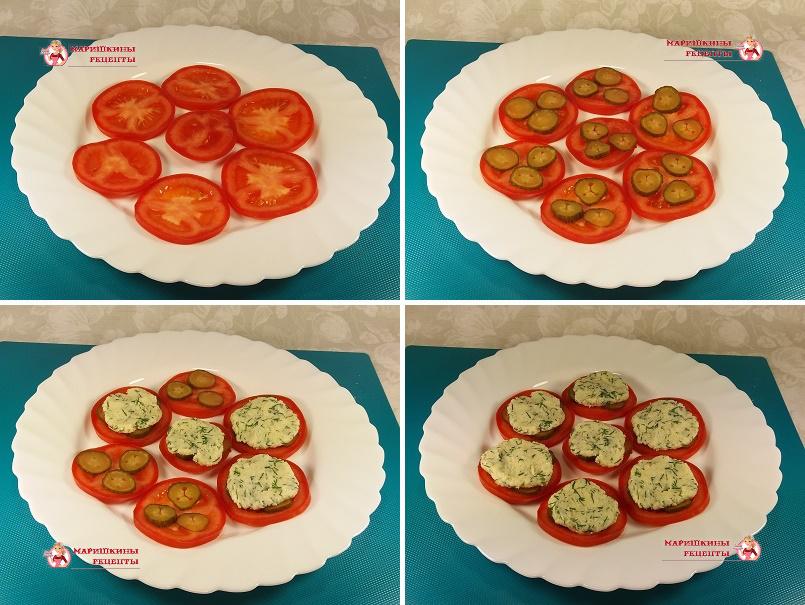 На помидор положим сырную массу