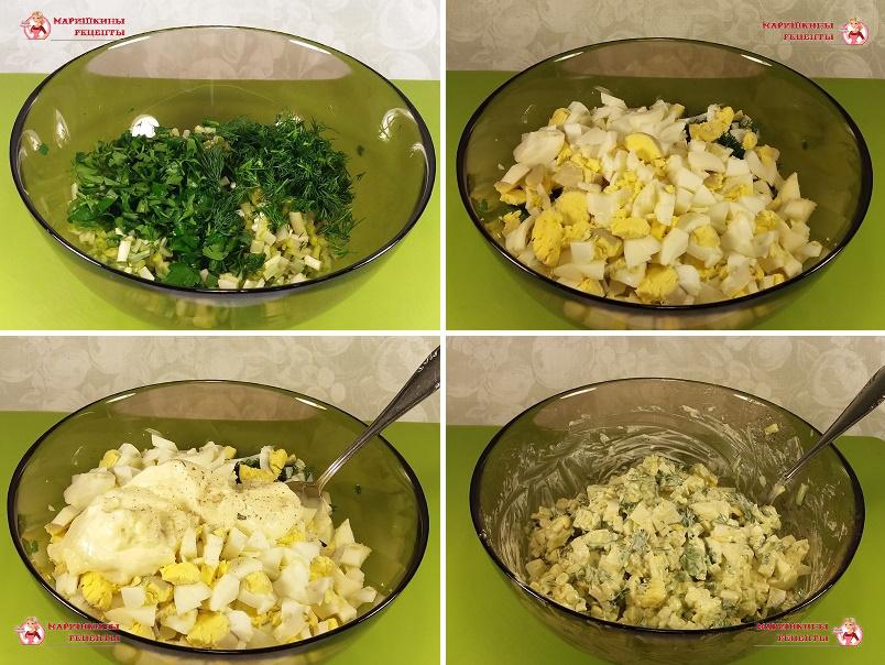 Нарежем куриное яйцо и зелень
