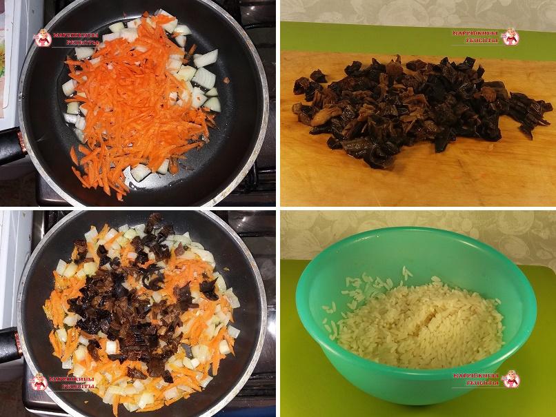 Обжариваем грибы с морковью и луком на сковороде