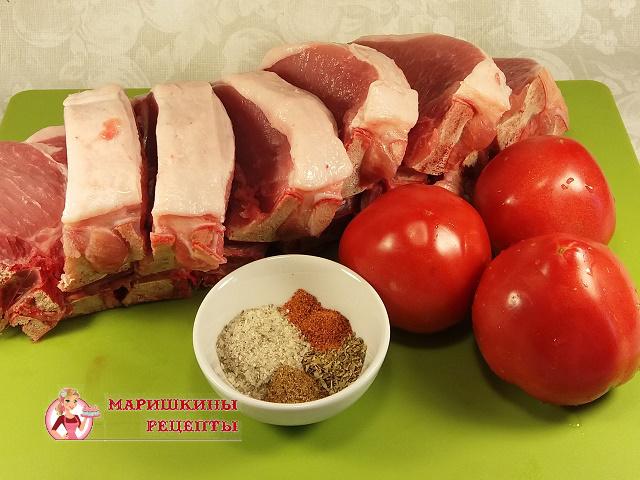 Ингредиенты для блюда свинина в томатно-чесночном маринаде