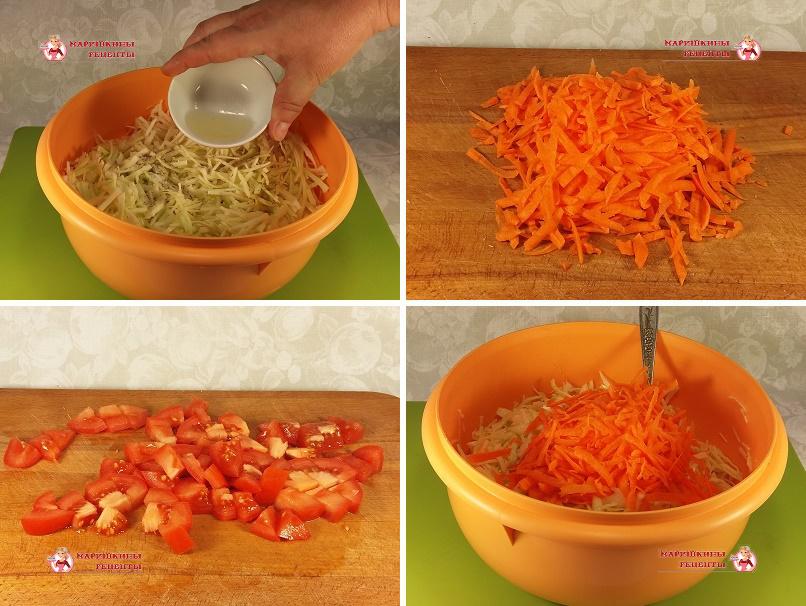 Нарежем ножом помидоры и морковь