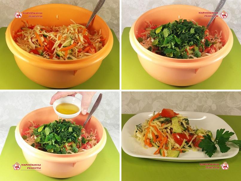 Нарежем крупно свежую зелень и посыплем ей овощи в миске