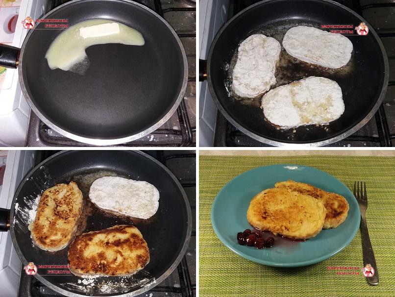 Поджарим гренки на сковороде