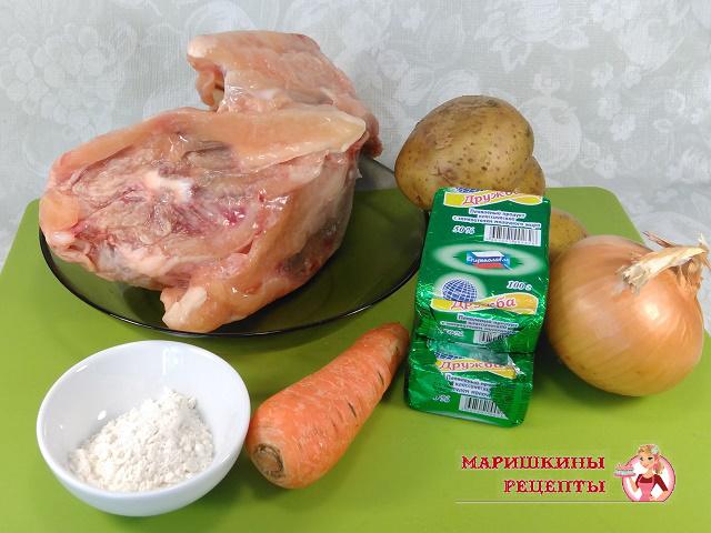 Ингредиенты для супа с плавленным сырком
