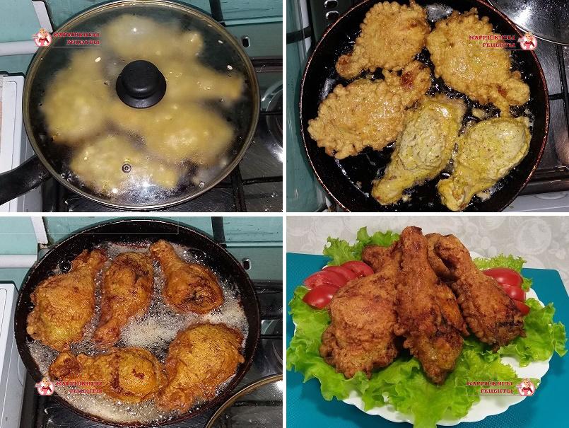 Жарим куриные ножки в кляре на сковороде