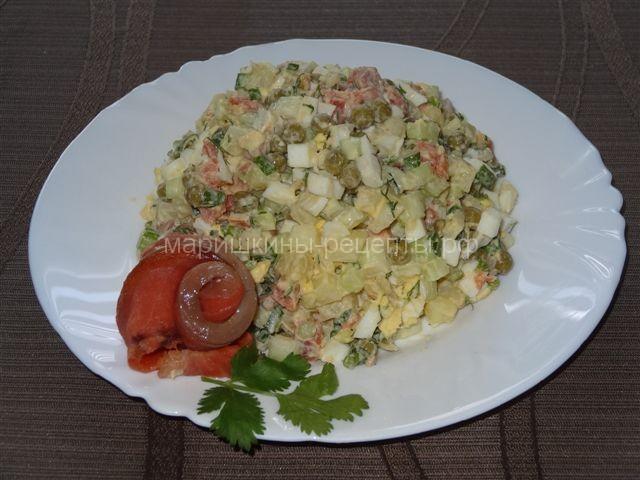 Вкусный салат оливье с огурцом и чавычей по камчатски
