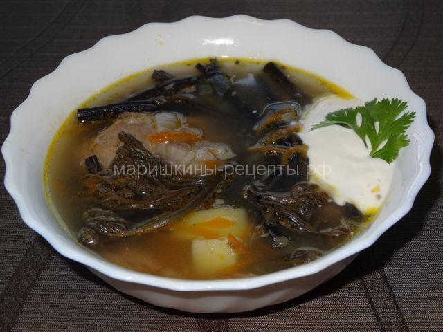 Суп с папоротником соленым по камчатски