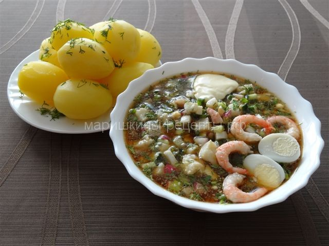 Как приготовить окрошку с палтусом кальмаром и креветками