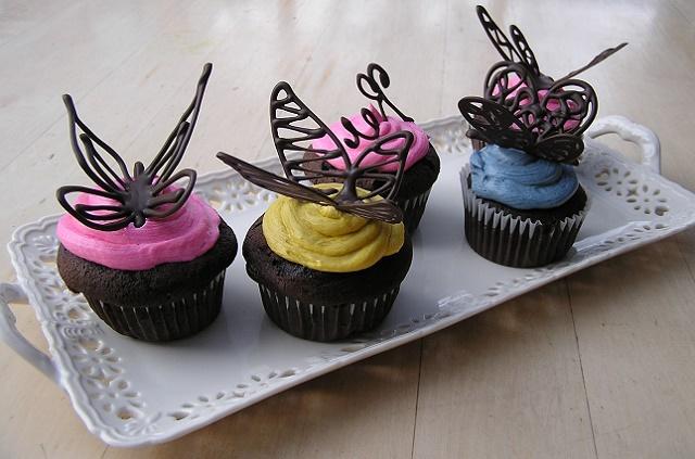 Шоколадный кекс бабочка