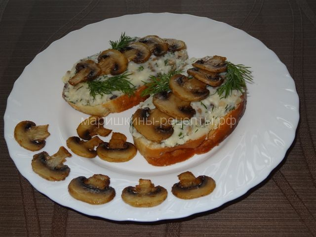Оригинальные бутерброды с сыром и шампиньонами