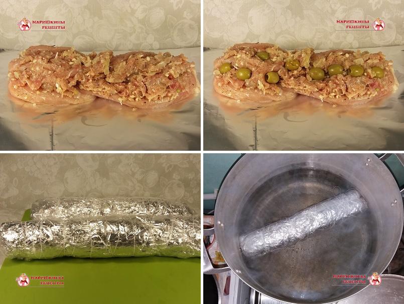 Сложим куриные грудки специальным образом. Сверху расположим фарш из окорочков. Разложим сверху оливки. Завернем рулет в фольгу.