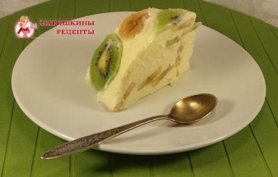 Творожный десерт с бананом и киви