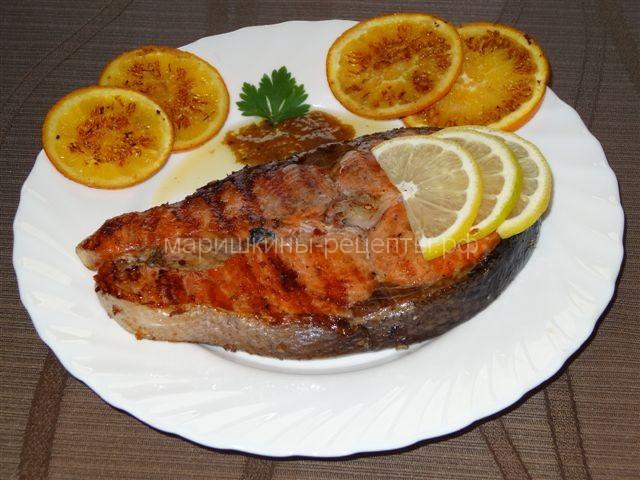 Запечённый лосось в апельсиновом маринаде
