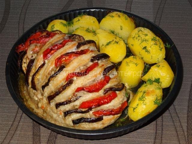 Запеченная свинина с картошкой в духовке с баклажанами