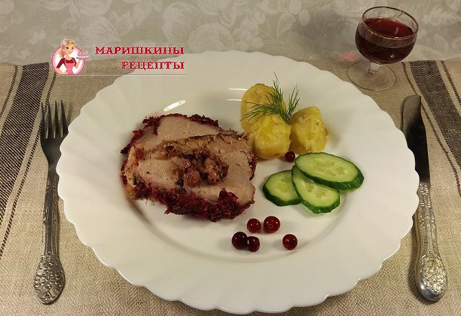 Рождественская свинина с клюквой