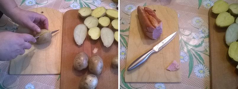 Разрежем каждую картофелину пополам