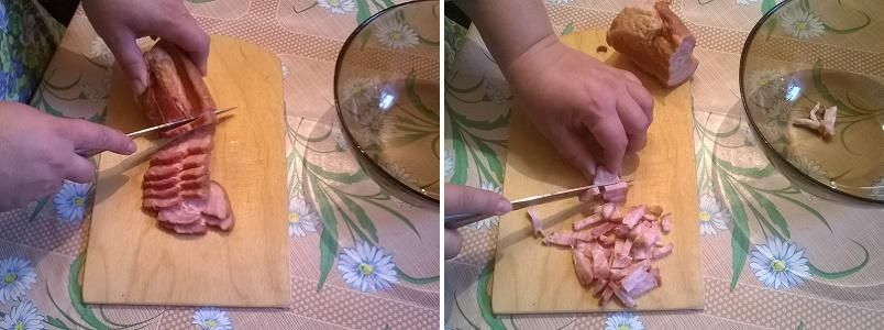 Нарежем бекон на мелкие кубики