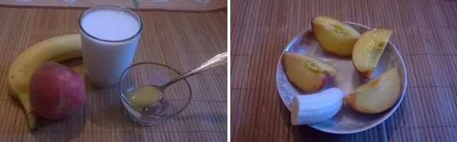 Смузи из персиков и бананов с йогуртом