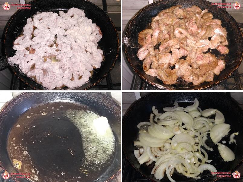 Обжариваем говядину на сливочном масле, уберем ее со сковороды, добавим масло и обжарим лук