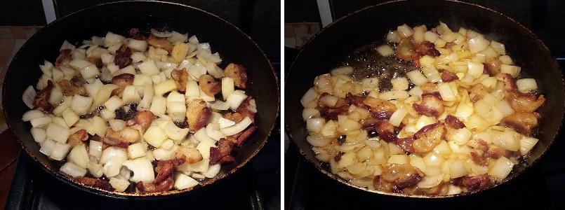 Сложная яичница с луком и салом для завтрака