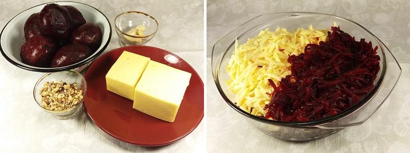 Салат из свеклы с сыром чесноком и грецкими орехами