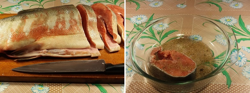 Кета запеченная в фольге в духовке со сметаной и сыром