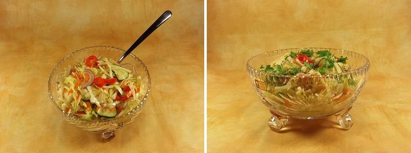 Капуста в горячем маринаде с огурцом и болгарским перцем