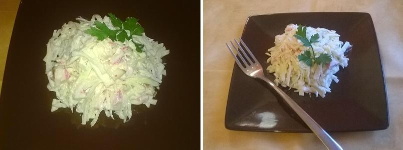Простой салат из свежей капусты и крабовых палочек