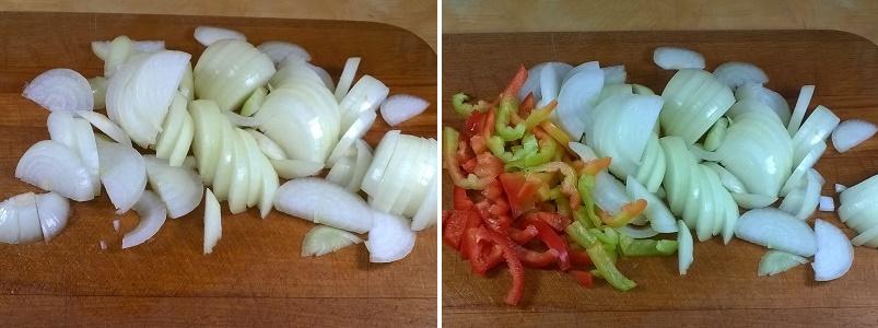 Тушеные куриные желудки с луком и другими овощами