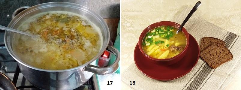 Гороховый суп на говяжьем бульоне с картофелем