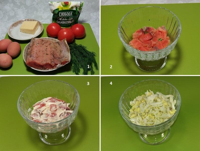 Красный салат с малосольной кетой и майонезом