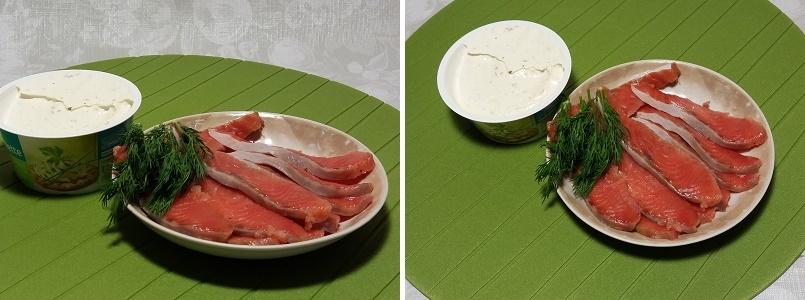 Рулетики из красной рыбы с творожным сыром и укропом