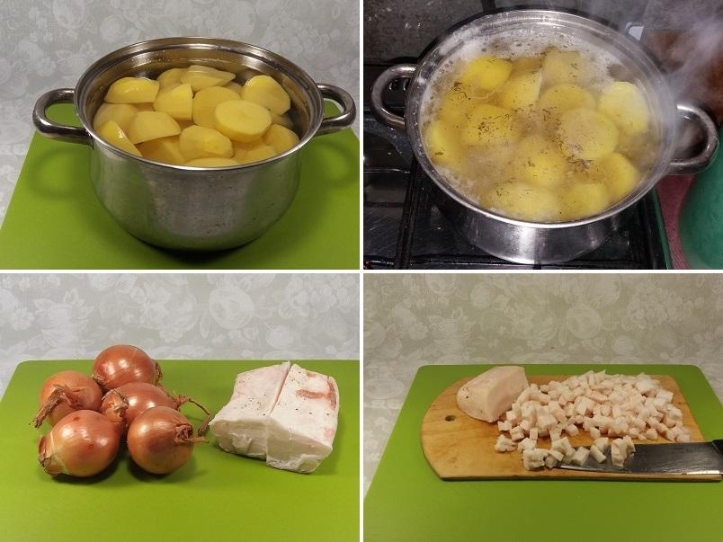 Картофельное пюре без молока с луком и салом