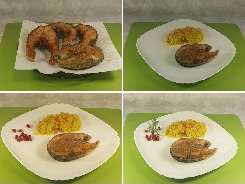 Жареный пеленгас порционными кусочками на сковороде