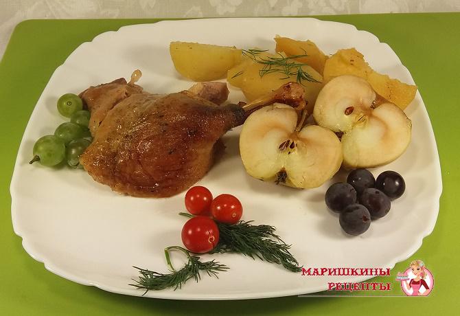 Утка с яблоками классический рецепт с фото
