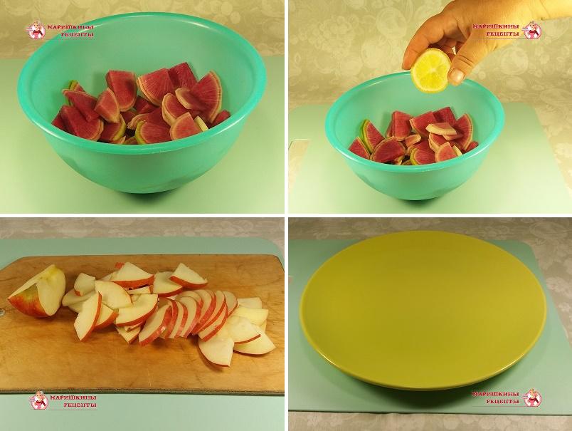 Режем яблоко на ломтики