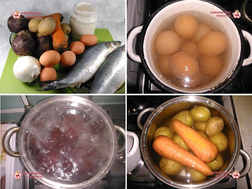 Варим овощи для салата