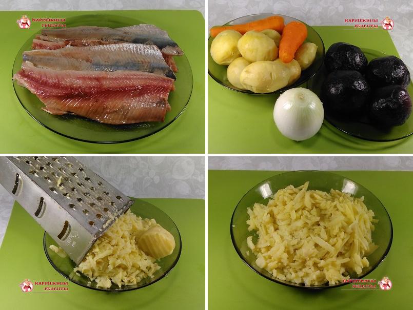 Натрем вареные овощи на крупной терке