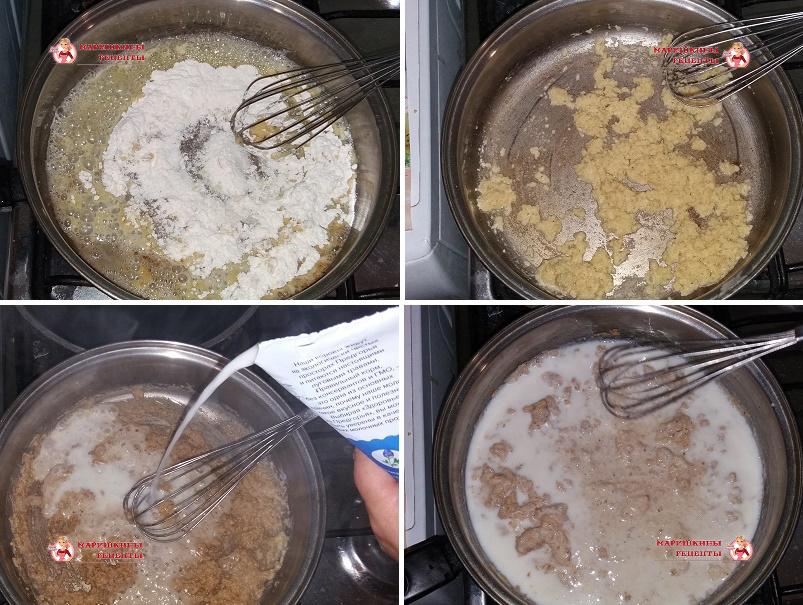 Зальем молоко тонкой струйкой в сковороду