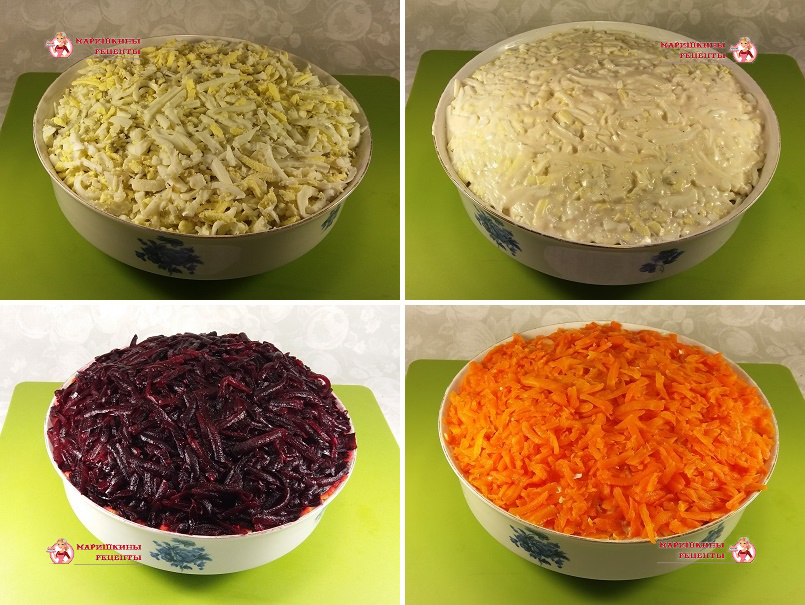 Промазываем слои салата майонезом