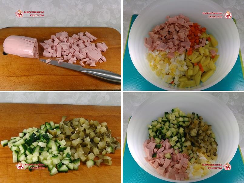 Нарежем вареную колбасу и огурцы