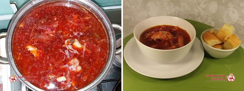 Разливаем готовый суп по тарелкам