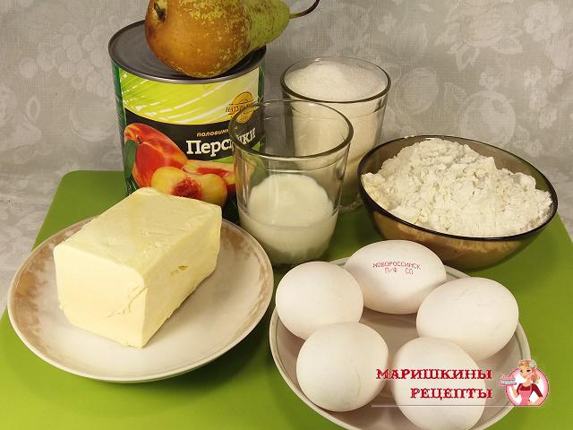 Ингредиенты для пирога с грушами и персиками