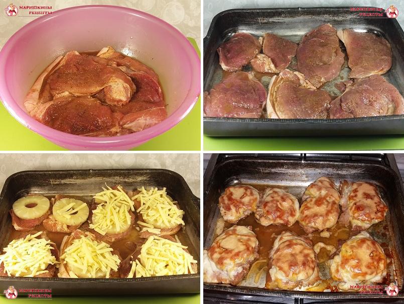 Раскладываем мясо на противень, сверху положим ананас, посыплем сыром и запекаем в духовке