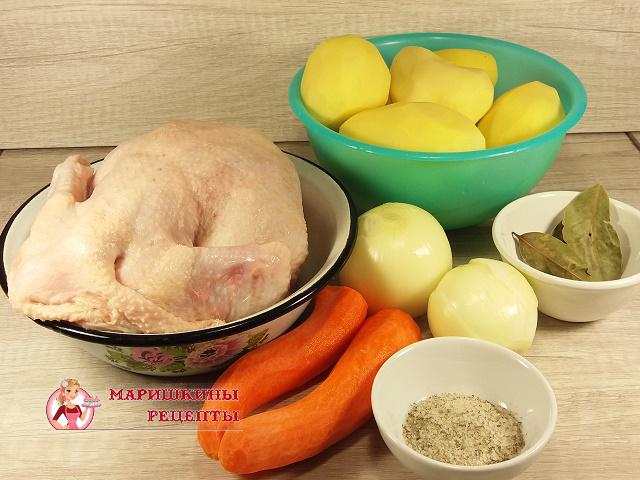 Ингредиенты для курицы в банке с картошкой в духовке